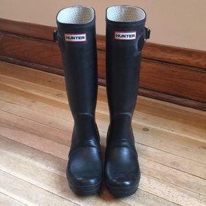 Hunter Original Tall Rain Boots Black size 6